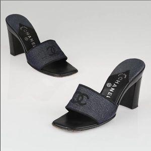 Chanel✨38.5 vintage denim block platform sandal